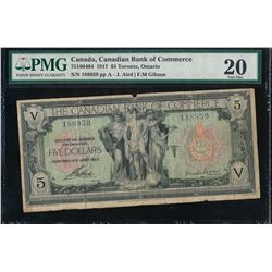 Canada - Canadian Bank of Commerce $5 1917 Certified PMG Very Fine 20