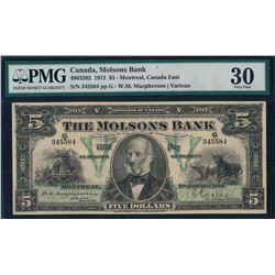 Canada - The Molsons Bank 1912 $5 Certified PMG Very Fine 30