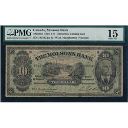 Canada - The Molsons Bank 1916 $10 Certified PMG Choice Fine 15