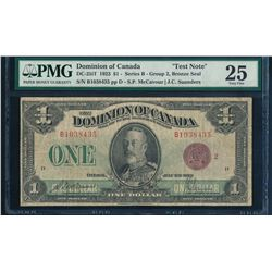Dominion of Canada DC-25iT 1923 $1 Test Note Certified PMG Very Fine 25