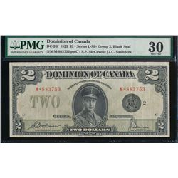 Dominion of Canada $2 1923 DC-26f Group 2 Black Seal Certified PMG VF30