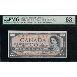 Bank of Canada $100 1954 Coyne/Towers Devil's Face Certified PMG 63 EPQ