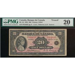 Banque du Canada - BC-10 $20 1935 Certified PMG Very Fine 20