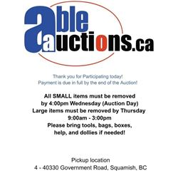 ALL SMALL ITEMS MUST BE REMOVED AUCTION DAY BY 4PM, LARGE ITEMS THURSDAY BY 3PM