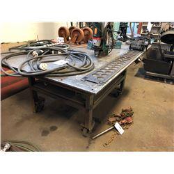STEEL WORK TABLE ON WHEELS