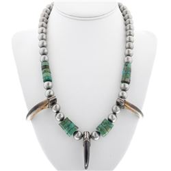 Old Pawn Turquoise Bear Claw Necklace Santo