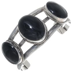 Old Pawn Onyx Sterling Silver Navajo Bracelet