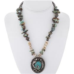 Old Pawn Turquoise Pendant Necklace Navajo