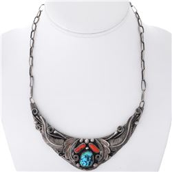 Old Pawn Navajo Turquoise Coral Link Style Collar