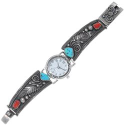 Old Pawn Turquoise Coral Silver Ladies Watch