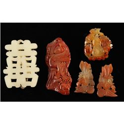 Lot of 4 Carved Jade Pieces