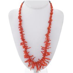 Vintage Branch Coral Silver Necklace with Bench