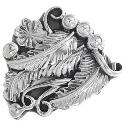 Navajo All Sterling Silver Nature Design Ring