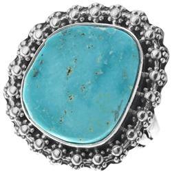 Kingman Turquoise Sterling Silver Navajo Ring