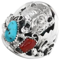 Turquoise Coral Silver Bear Navajo Men's Ring