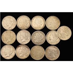 Lot of 13 Silver Peace Dollars