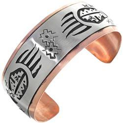 Navajo Copper Silver Bear Paw Pattern Cuff