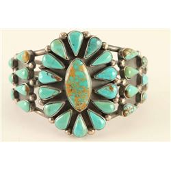 Floral Cluster Turquoise & Sterling Silver Cuff