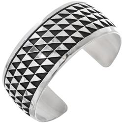 Navajo Overlaid Sterling Silver Triangle Rows Cuff