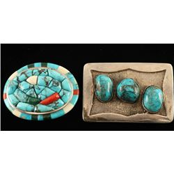 Lot of 2 Sterling Silver & Turquoise Belt Buckles