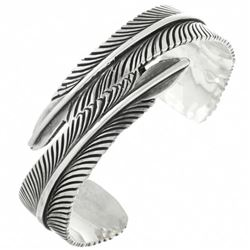 Native American Sterling Silver Feather Bracelet