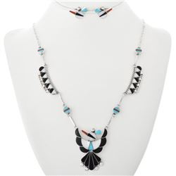 Zuni Inlaid Thunderbird Sterling Silver Necklace &