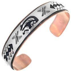 Navajo Copper Silver Cuff Handmade Overlaid