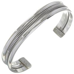 Navajo Indian Sterling Silver Bracelet by The Tahe