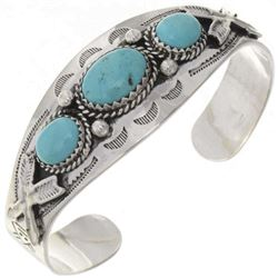 Navajo Sterling Silver Three Stone Turquoise Cuff
