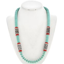 Navajo Beaded Necklace Turquoise Coral with