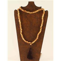 Ox Bone Carved Skull Necklace