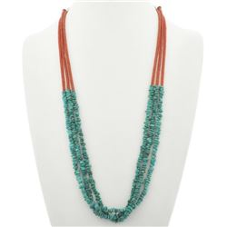 Navajo Three Strand Turquoise Chip Nugget