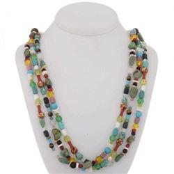 Navajo Turquoise Treasure Necklace Three Strands