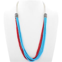 Turquoise Coral Silver Navajo Beaded Five Strand