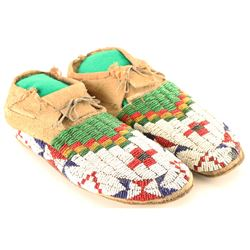 Pair of Beaded Cheyenne Moccasins