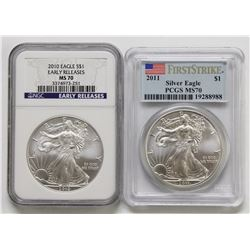 2010 AND 2011 MS 70 AMERICAN SILVER EAGLES