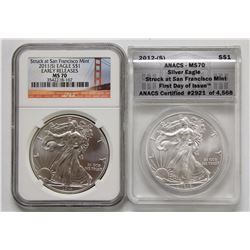 2011 AND 2012 AMERICAN SILVER EAGLES MS 70