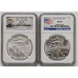 2012 AND 2013 AMERICAN SILVER EAGLES MS 70