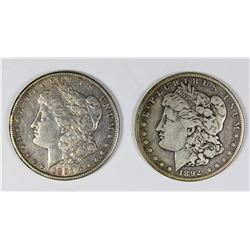 1891-S AND 1892-O MORGAN SILVER DOLLARS