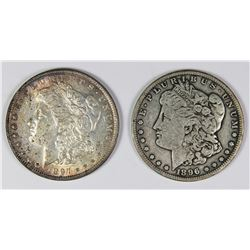 1896-S AND 1897 MORGAN SILVER DOLLARS