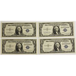 4 PCS 1935-G $1.00 SILVER CERTIFICATES