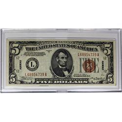 1934 A $5.00 HAWAII SILVER CERTIFICATE