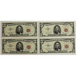 FOUR PCS. 1863  $5.00 U.S. NOTES: STAR NOTES: