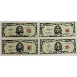 FOUR PCS. 1863  $5.00 U.S. NOTES: STAR NOTES: