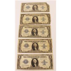5 PCS 1923 $1.00 SILVER CERTIFCATES