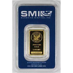 5 GRAM .999 GOLD BAR