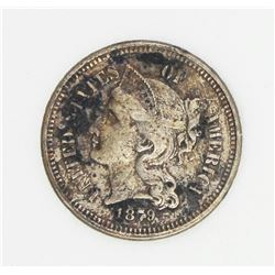 1879 THREE CENT NICKEL RNG AU 58