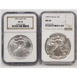 1997 & 1995 AMERICAN SILVER EAGLES