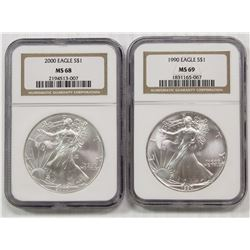2000 & 1990 AMERICAN SILVER EAGLES