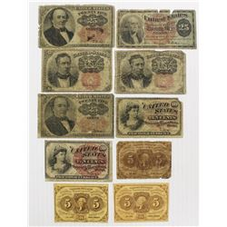 10 PIECES FRACTIONAL CURRENCY